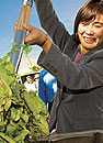 Photo: Professor Ruihong Zhang demonstrates a biodigester